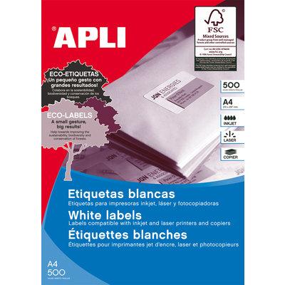 Etiquetas adhesivas A4 cantos rectos 500 hojas Apli 1781