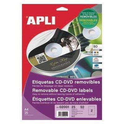 Etiquetas adhesivas para CD-DVD  removibles Apli 2001
