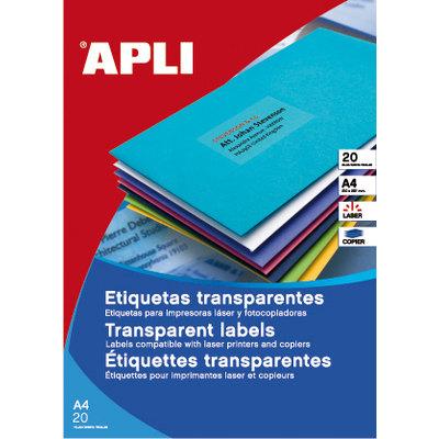 Etiquetas adhesivas A4 cantos rectos poliéster 20 hojas apli 1225
