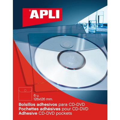 Bolsillo autoadhesivo para CD-DVD Apli 2585