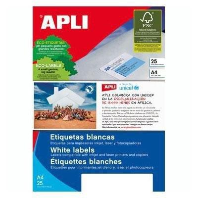 Etiquetas adhesivas Apli A4 recicladas 1215