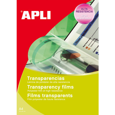 Transparencias para impresoras láser monocromo Apli 1062