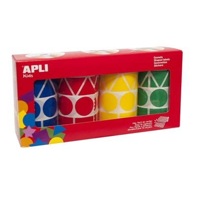 Rollo gomets autoadhesivos permanentes figuras geométricas Apli 10753