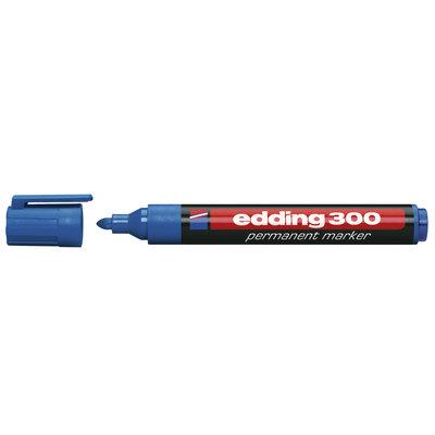 Rotulador permanente punta redonda Edding 300 azul