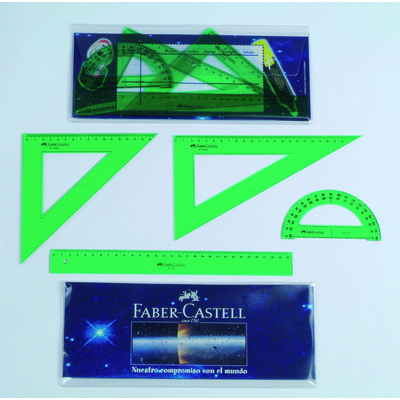 Petaca con regla, escuadra, cartabón y semicírculo Faber-Castell