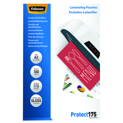 Fundas para plastificar 175 micras brillo Fellowes Protect 5308803