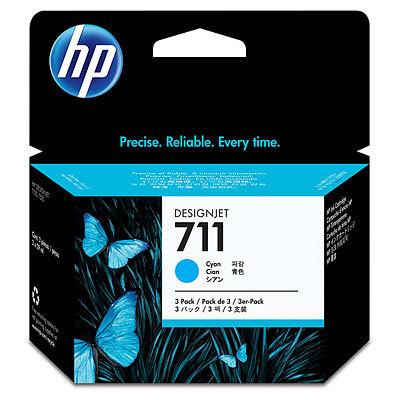 Cartucho inkjet HP 711 Pack 3 Cian 29 ml