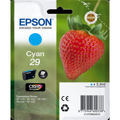Cartucho Inkjet  Epson T2982 Cian 180 páginas  C13T298240