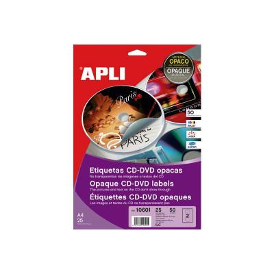 Etiquetas adhesivas para CD-DVD dorso opaco Apli Mega 10601