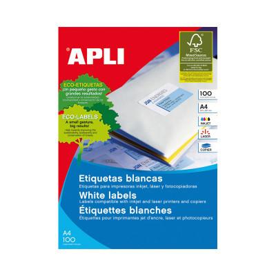 Etiquetas adhesivas A4 cantos rectos 100 hojas Apli 1280