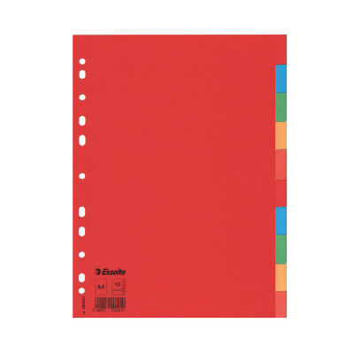 Separadores de cartulina A4 colores Esselte 100201