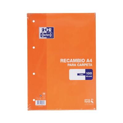 Recambio de 100 hojas sueltas sin banda de color A4 Oxford 100430209