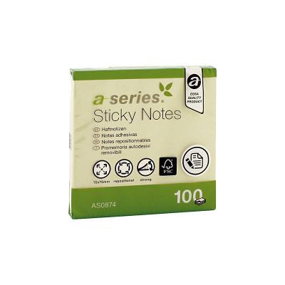 Bloc de notas adhesivas amarillas A-Series AS0874