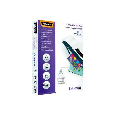 Fundas para plastificar 80 micras brillo A5 Fellowes Enhance 5306002