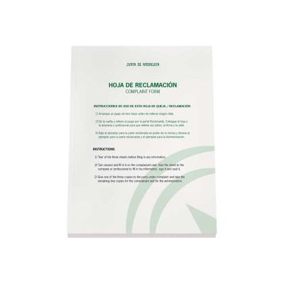 Bloc hojas de reclamaciones Junta de Andalucía 09997