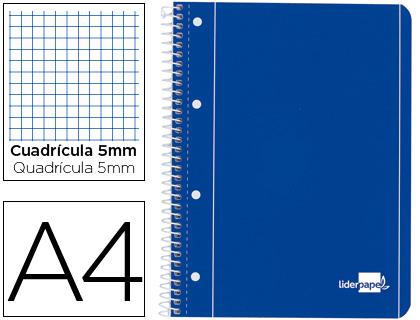 Cuaderno espiral liderpapel a4 micro serie azul tapa blanda 80h 80 gr cuadro5mm con margen 4 taladro