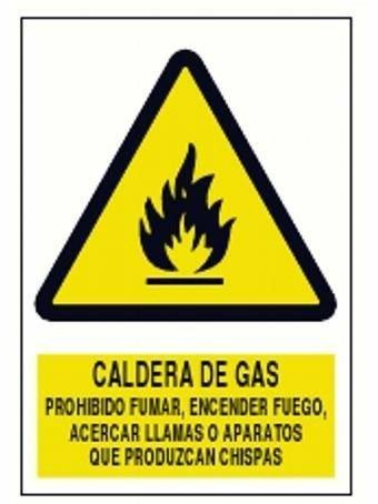 Cartel advertencia de Peligro Caldera de Gas