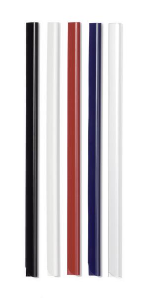 Vainas de sujeción para documentación no perforada. Longitud: 297 mm (A4). Anchura: 13 mm. Capacidad Trransparente