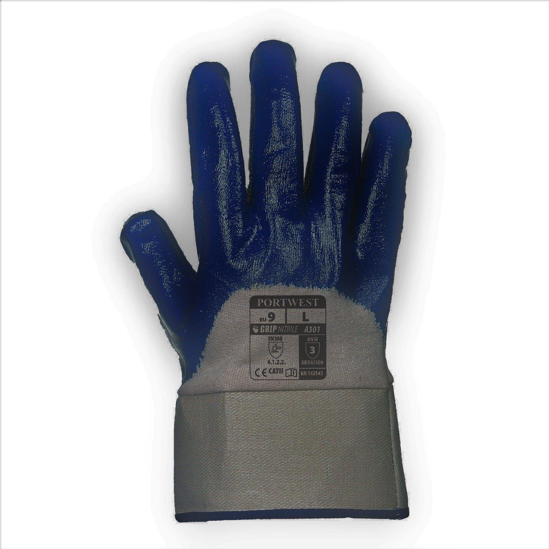 Guante de Nitrilo con manguito de seguridad Azul Marino L R
