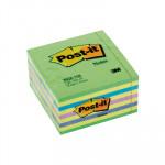 Cubo de notas adhesivas Post-it neón azul-verde