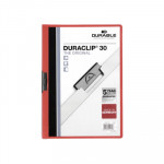 Dossier con clip metálico A4 30 hojas Durable Duraclip rojo