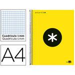 Cuaderno espiral microperforado tapa forrada Liderpapel Antartik A4 amarillo flúor cuadro 5x5mm