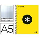 Cuaderno espiral microperforado tapa forrada Liderpapel Antartik A5 amarillo flúor cuadro 5x5mm