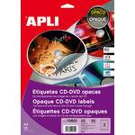 Etiquetas adhesivas para CD-DVD dorso opaco Apli Mega 117mm exterior