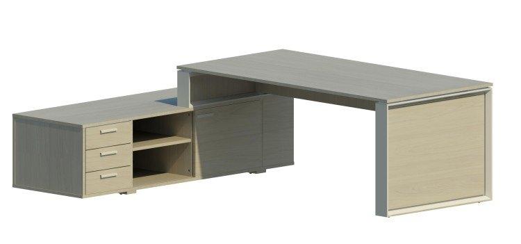 Mesa Omega con armario auxiliar izquierdo y marco aluminizado OM30006 BL/AL