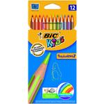 Lápices de colores hexagonales Bic Kids Tropicolors caja de 12