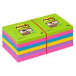 Bloc de notas adhesivas colores 76x76mm Post-it Super Sticky 654-12SSUC
