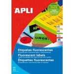 Etiquetas adhesivas Apli A4 color naranja fluorescente 11748
