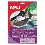 Etiquetas adhesivas para CD-DVD  removibles Apli 114 mm mate removible