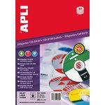 Etiquetas adhesivas para CD-DVD dorso opaco Apli 25 hojas 02899