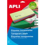 Etiquetas adhesivas A4 cantos rectos poliéster transparente 10 hojas Apli 10053