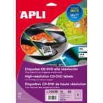Etiquetas adhesivas inkjet para CD-DVD Apli Mega