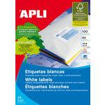 Etiquetas adhesivas A4 cantos romos  100 hojas Apli 63,5x46,6 mm. salida 3