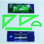 Petaca con regla, escuadra, cartabón y semicírculo Faber-Castell 65021