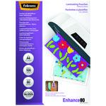 Fundas para plastificar auto-adhesivas Fellowes A4 80 micras