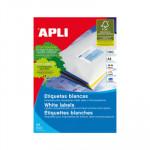 Etiquetas adhesivas A4 cantos rectos 100 hojas Apli 2 salidas 105x57mm