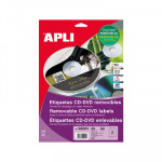 Etiquetas adhesivas para CD-DVD  removibles Apli 114 mm mate removible
