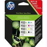 Pack de 4 cartuchos inkjet HP 932XL negro/933XL cian/magenta/amarillo 1000/825/825/825 páginas