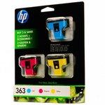 Pack de 3 cartuchos inkjet HP 363 cian/magenta/amarillo 400/370/500 páginas