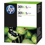 Pack de 2 cartuchos inkjet HP 301XL de alta capacidad tri-color/tri-color 330/330 páginas