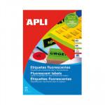 Etiquetas adhesivas A4 cantos rectos colores 20 hojas Apli amarillo fluorescente