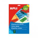 Etiquetas adhesivas A4 cantos rectos colores 20 hojas Apli 01601