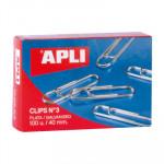 Clips labiados plateados Apli nº 3, 40mm
