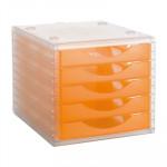 Módulo de 5 cajones translúcidos Archivo 2000 Archivotec naranja