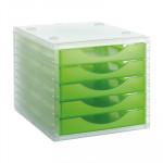 Módulo de 5 cajones translúcidos Archivo 2000 Archivotec verde kiwi