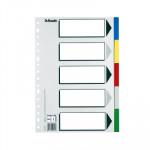 Separadores de PP colores con índice blanco y negro Esselte Folio 5 pestañas